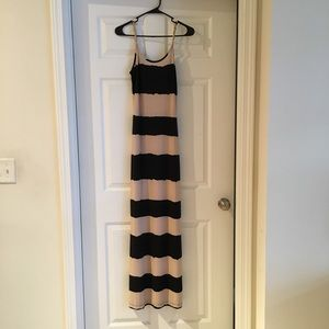 Black and Tan striped maxi dress